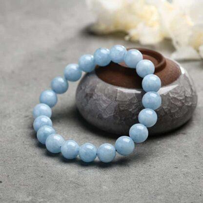 Bracelet Aigue Marine Perles 8mm - Bleu vert
